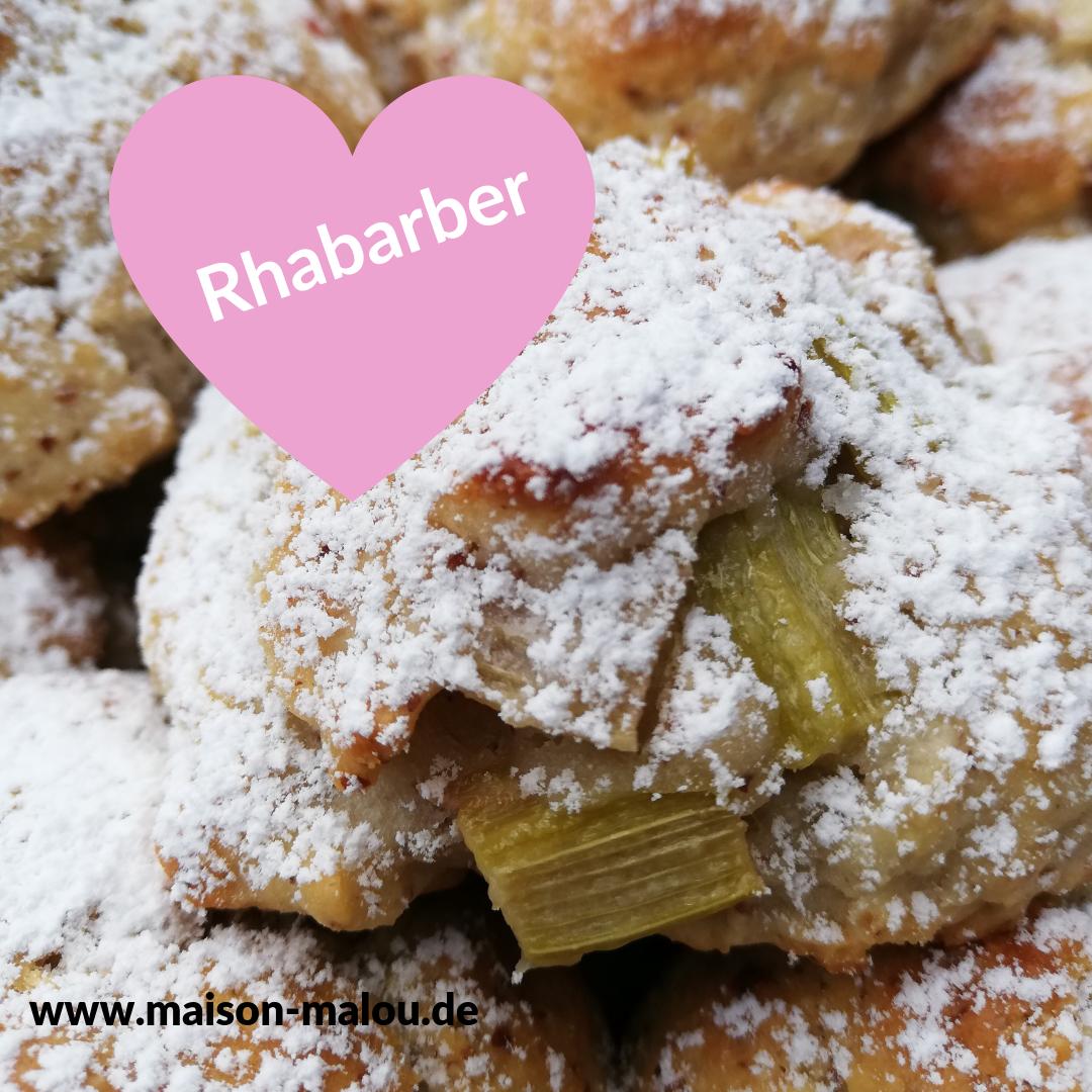 Rhabarber-Mandel Bällchen. Der Kuchen zum Mitnehmen.
